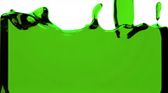 green liquid fills up screen, with alpha matte FULL HD - stock footage