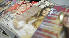 Fashion Glossy Magazines on the Shelf - stock footage