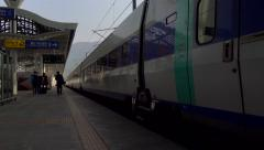 KTX high-speed train leaves the Singyeongjul Station. Gyeongju, South Korea. Stock Footage