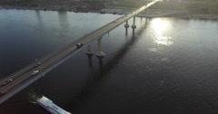 4K Aerial shot of dancing bridge in russia. Stock Footage