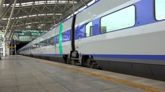 KTX high-speed  train leaves the Seoul Station. South Korea. Stock Footage