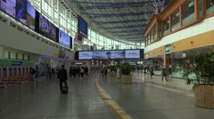 Passengers in the Central Hall of the Seoul Station. South Korea. - stock footage