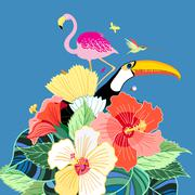 bird of paradise and plants - stock illustration