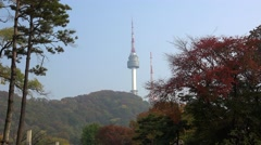 N Seoul Tower from the Namsan park. Seoul, South Korea. Stock Footage
