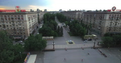 4K Aerial shot of Volgograd city in russia. Order of Lenin on building. Stock Footage