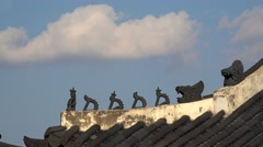Traditional Korean Japsang Figures on the roof of pavilions Stock Footage