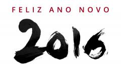 Happy New Year 2016 in portuguese - writing calligraphy with a brush - stock footage