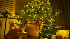 Christmas eve with tree and presents Stock Footage