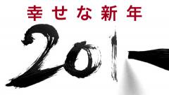 Writing 2016 with a chinese brush and thick ink - live calligraphy Stock Footage
