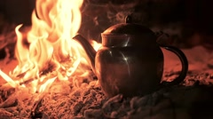 a tea in the desert by night, close up - stock footage