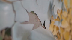 Detail of cracked wall in abandoned building Stock Footage