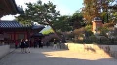 Stock Video Footage of Tourists on the territory of Gyeongbok Palace. Seoul, South Korea