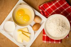 Preparation for baking, bake ingredients. Stock Photos