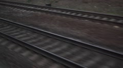 Parallel railroad tracks. View from moving train window - stock footage