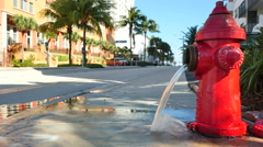 Firehydrant spilling water - stock footage