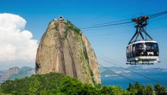 Timelapse View of Cable Car at Sugarloaf Mountain in Rio de Janeiro, Brazil Stock Footage