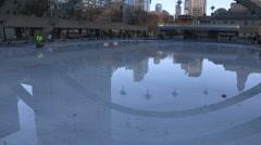 Toronto city hall skating rink melts on warm Christmas eve 2015 Stock Footage