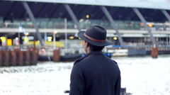 Man with hat leaving for a new life - stock footage