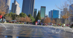 A sunny day at Klyde Warren Park at christmas time Stock Footage