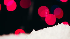 Imitation of falling snow on a bokeh background Stock Footage