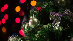 Imitation of the falling snow on a christmas tree Stock Footage