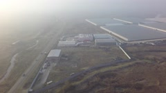 Stock Video Footage of aerial view warehouse factory  production by copter in Russian
