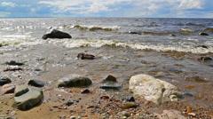 Shore of Onega lake in Karelia, Russia Stock Footage