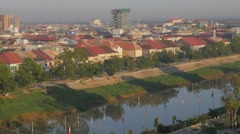 Viewpoint over Sangkae river and town,Battambang,Cambodia Stock Footage