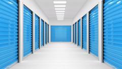 Corridor full of storage units with blue door. Stock Footage