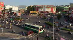 Timelapse of evening Quang Chung street traffic Stock Footage