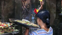 Indonesian people celebrate Balinese New Year. Ubud, Bali, Indonesia Stock Footage