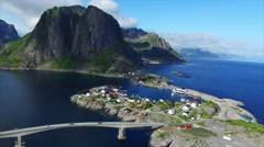 Fishing village of Hamnoya on Lofoten islands - stock footage