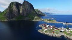 Picturesque village of Hamnoya in Norway Stock Footage