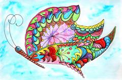 Gorgeous fantastic cosmic butterfly Stock Illustration
