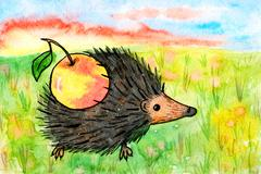 Picture hedgehog with apple. Bright children's drawing by hand - stock illustration