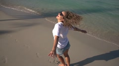 Happy Lifestyle Woman Smiling at Beach. Slow Motion. 250fps Stock Footage