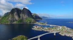 Bridge to village Hamnoya on Lofoten islands, Norway Stock Footage