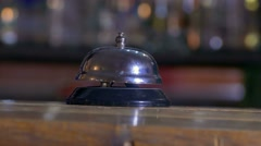 Man pushes a call bell at the hotel arm Stock Footage
