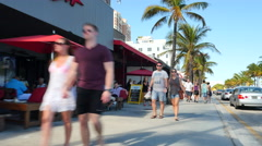 Tourists on Ft. Lauderdale Beach Stock Footage