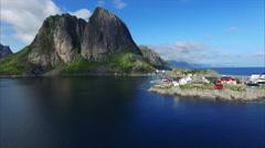 Flying on Lofoten islands in Norway Stock Footage