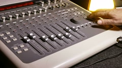 Man brings music mixer music remote studio Stock Footage