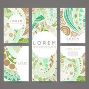 Set of vector design templates. Brochures in random colorful style. Vintage f - stock illustration