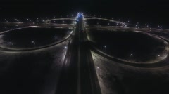 Aerial view transport interchange at night Stock Footage