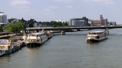 View to the boats at the Maas river in Maastricht, Netherlands. Stock Footage