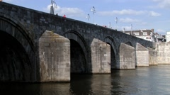View to the medieval Saint Servatius bridge in Maastricht, Netherlands. Stock Footage
