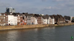 Buildings at the riverside of Meuse river in Maastricht, Netherlands. Stock Footage