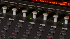 Musician brings man console mixer music remote studio Stock Footage
