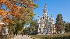 Almaty Autumn Time Lapse Zoom - stock footage