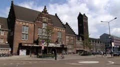 People enter railway station building in Maastricht, Netherlands. Stock Footage