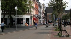 Bus passes by the street in Maastricht, Netherlands. Stock Footage